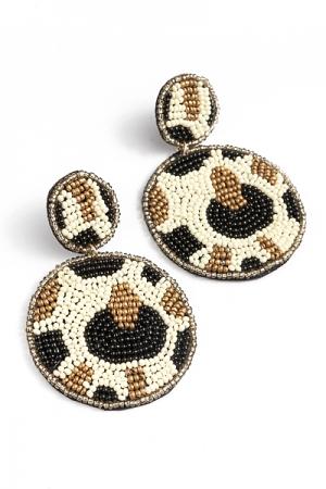 Leopard Beaded Disc Earring