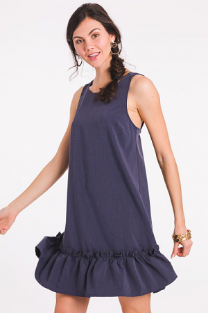 Tie Back Dress, Navy