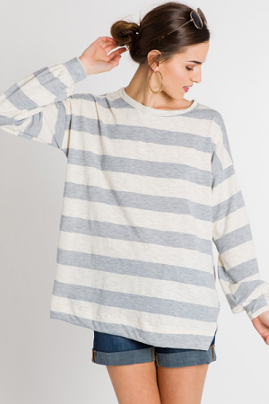 Slub Knit Stripes Top