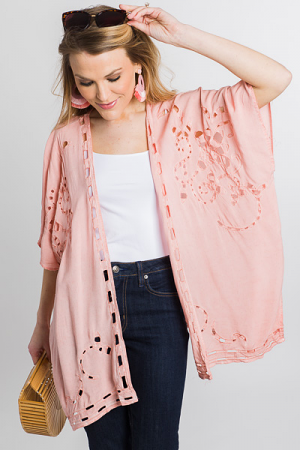 Cut Out Embroidery Kimono, Peach