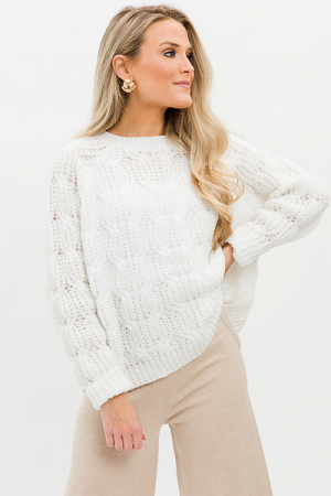 Loopy Sweater, White