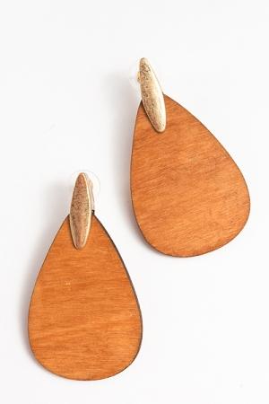 Wooden Teardrop Earrings, Lt. Brown