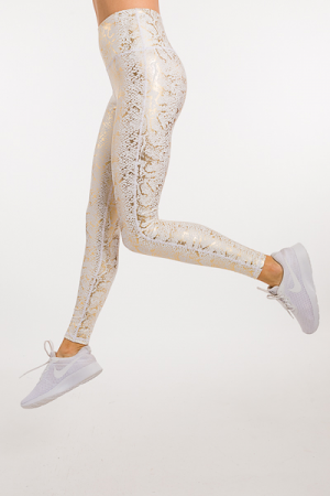 Gold Foil Snake Leggings
