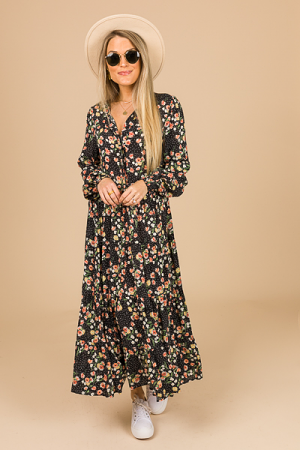Floral Wishes Midi, Black
