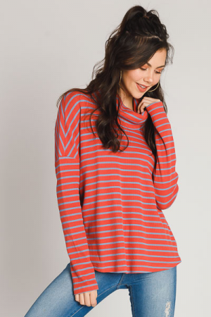 Cowl Striped Top, Rose