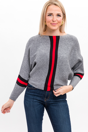 Red Stripe Rib Sweater, Gray