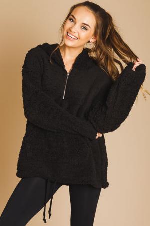 Half Zip Sherpa Pullover, Black