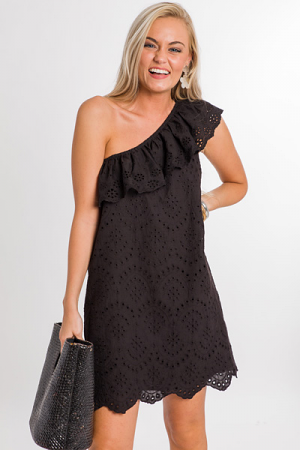 Eyelet One Shoulder Dress, Black