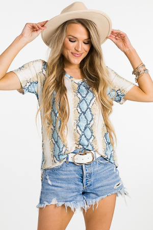 Stretchy Snake V Tee, Blue