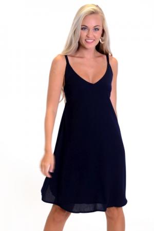 Tie Back Slip Dress, Navy