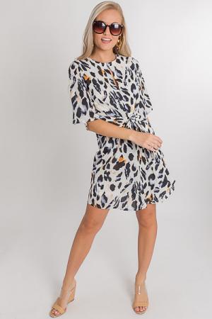 White Leopard Tie Dress