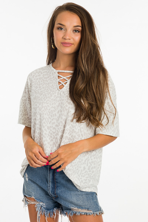 Lace Up Leopard Tee, Grey