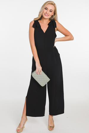 Bow Shoulders Jumpsuit, Black