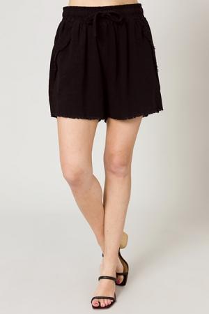 Logan Linen Shorts, Black
