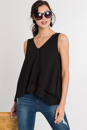 Double Chiffon Tank, Black