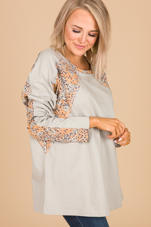 Pattern Sleeve Tunic, Gray
