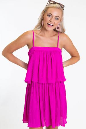 Magenta Pleats Dress