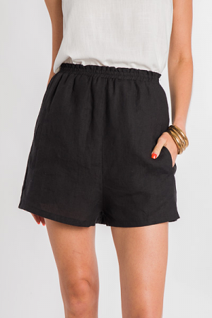Longer Linen Shorts, Black