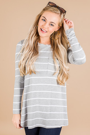 Noah Jersey Top, Grey Stripe