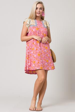 Floral Patchwork Dress, Pink