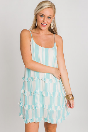 Mint Stripe Ruffle Dress