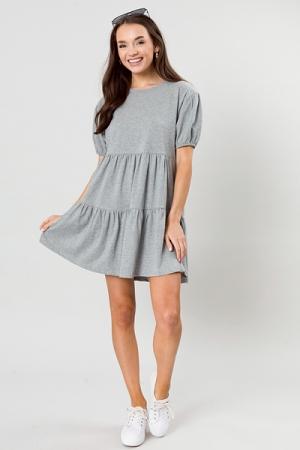 Carly Knit Tier Dress, Heather Grey