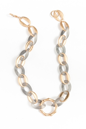 Acrylic & Metal Chain Necklace, Gray