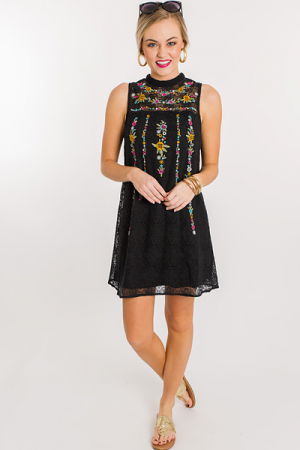 Garland Lace Dress, Black