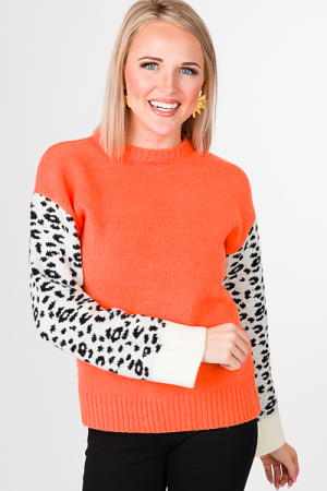 Leopard Sleeves Sweater, Orange