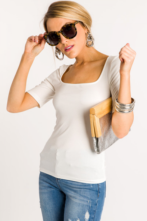 Square Neck Fitted Tee, Ivory