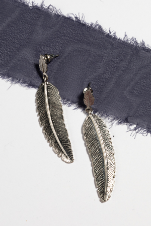 Feather Post Earring, Silver