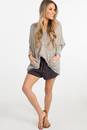 Double Pocket Taupe Sweater