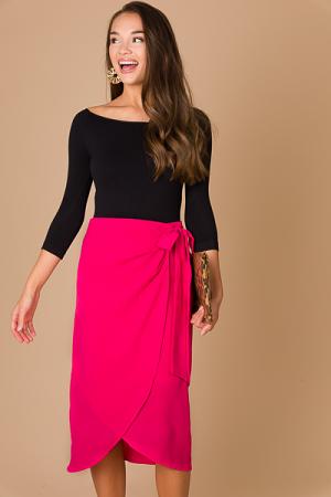 Midi Wrap Skirt, Pink