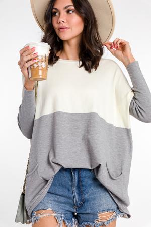 Split Pocket Sweater, Ivory/ Grey