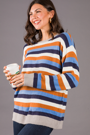 Bailey Stripe Sweater, Blue Multi