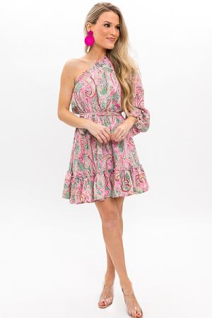 Paisley Single Sleeve Dress, Sage