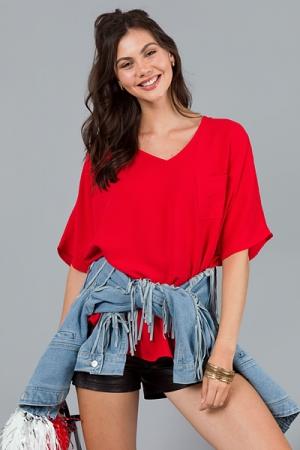 V Neck Pocket Blouse, Red