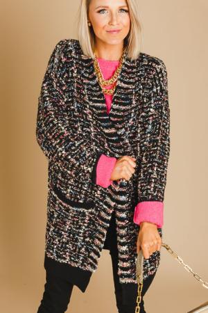Metallic Tweed Look Cardigan