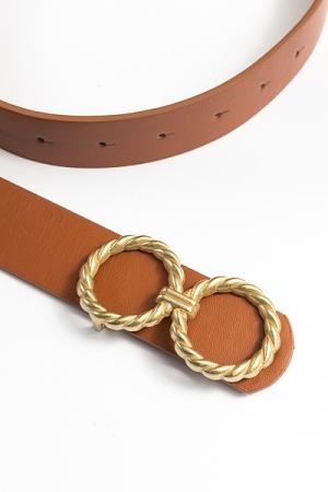 Twisted Rings Belt, Brown