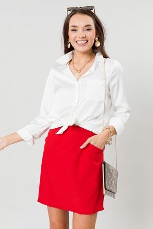Ruffle Hem Skirt, Red