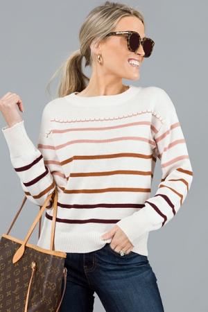 Ombre Stripe Sweater, Oatmeal