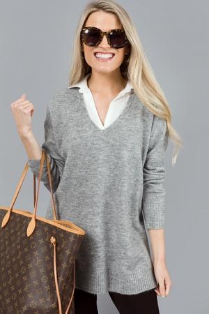Layered Collar Sweater, H. Grey