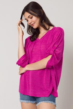 Knit Pintuck Top, Hot Pink