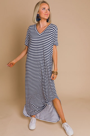 Jojo Midi Dress, Navy Stripe