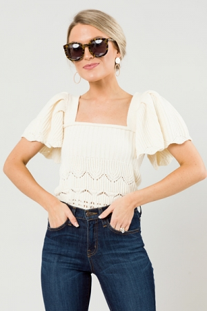 Sweater Knit Flutter Top, Cream