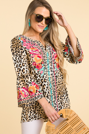 Embroidered Placket Leopard Tunic