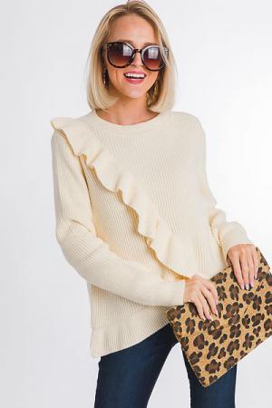 Ruffle Front Sweater, Ivory