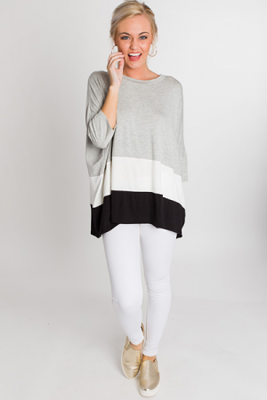Oversized Colorblock Tunic, Grey