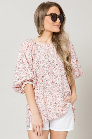 Puffle Sleeve Floral Top, Blush