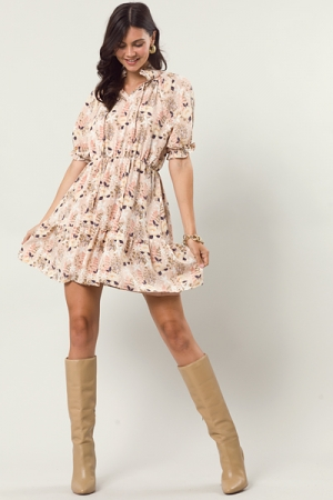 Smooth Floral Dress, Peach